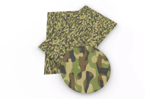 Green camo / camouflage print faux leather fabric sheet - MAE Inspirations