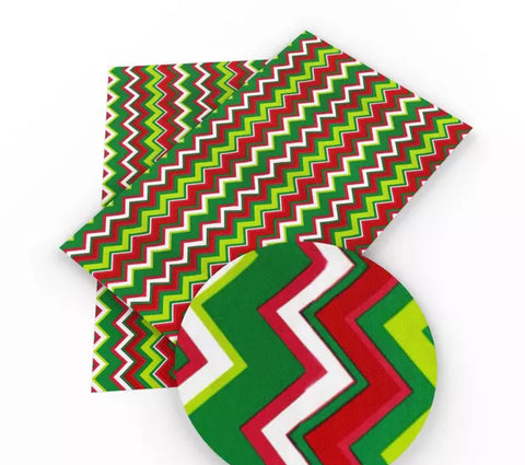 Red & green chevron Christmas faux leather fabric sheet - MAE Inspirations