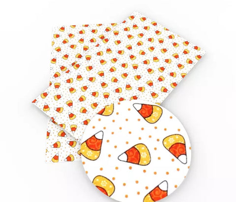 White candy corn Halloween faux leather fabric sheet - MAE Inspirations