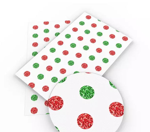 Red & green polka dot Christmas faux leather fabric sheet - MAE Inspirations