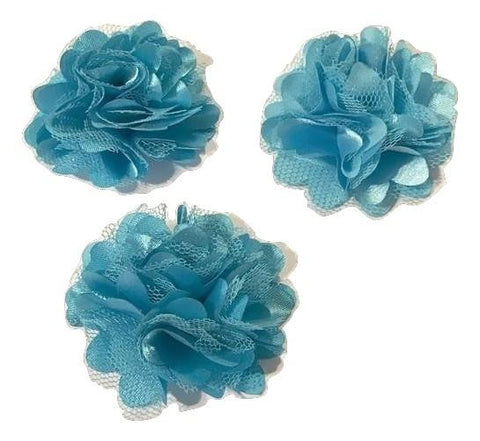 "Turquoise blue 2"" satin & tulle mesh flowers - MAE Inspirations"
