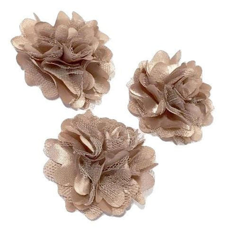 "Beige 2"" satin & tulle mesh flowers - MAE Inspirations"