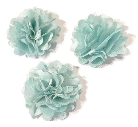 "Aqua blue 2"" satin & tulle mesh flowers - MAE Inspirations"