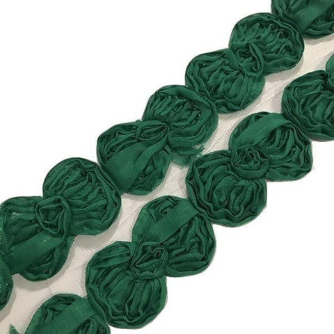 "Emerald green 2.5"" shabby chiffon bow trim"