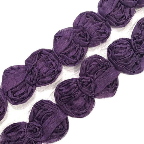 "Purple 2.5"" shabby chiffon bow trim"