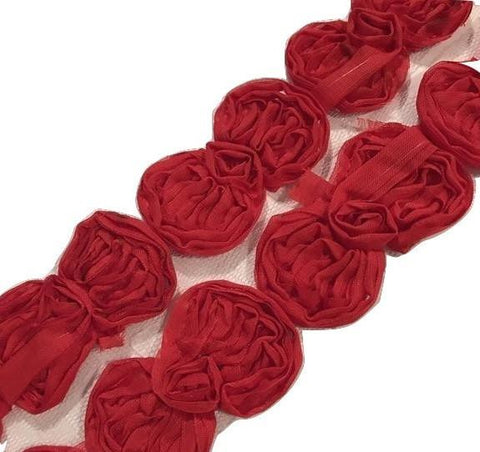 "Red 2.5"" shabby chiffon bow trim"