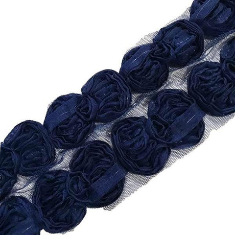 "Royal blue 2.5"" shabby chiffon bow trim"