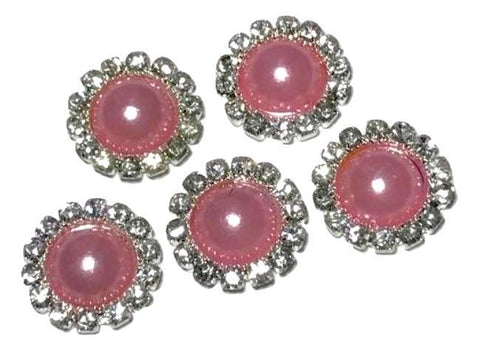 13mm pink pearl rhinestone metal flat back button - MAE Inspirations