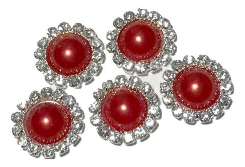 13mm red pearl rhinestone metal flat back button - MAE Inspirations