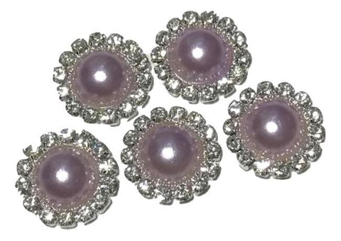 13mm lavender pearl rhinestone metal flat back button - MAE Inspirations