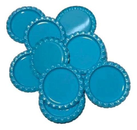 Turquoise blue flattened bottle caps - MAE Inspirations