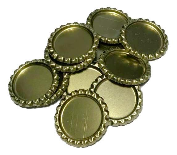 Gold flattened bottle caps - MAE Inspirations