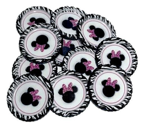 Zebra Minnie mouse head print flattened bottle caps - MAE Inspirations