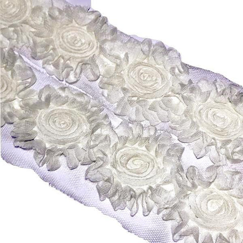 "Ivory sunflower swirl 2.5"" shabby chiffon rose trim - MAE Inspirations"