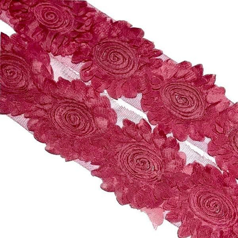 "Salmon pink sunflower swirl 2.5"" shabby chiffon rose trim - MAE Inspirations"
