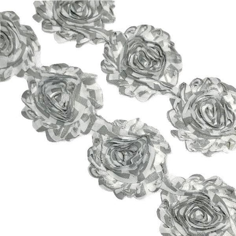 "Gray chevron print 2.5"" shabby chiffon rose trim"