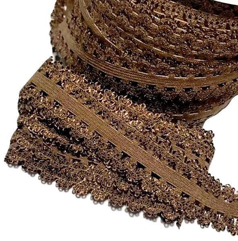 "Brown 3/4"" picot edge lace elastic - MAE Inspirations"
