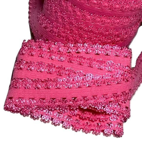 "Hot pink 3/4"" picot edge lace elastic - MAE Inspirations"