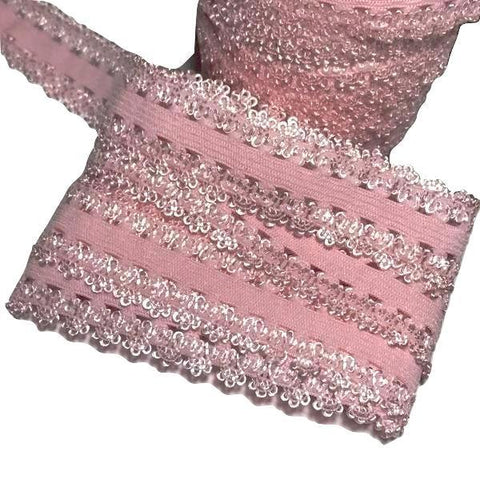 "Light pink 3/4"" picot edge lace elastic - MAE Inspirations"