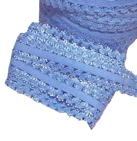 "Turquoise blue 3/4"" picot edge lace elastic - MAE Inspirations"