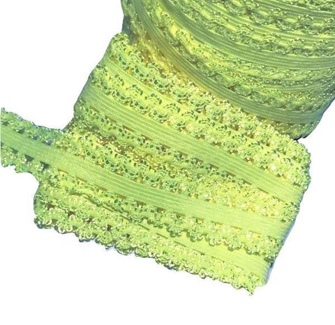 "Neon yellow 3/4"" picot edge lace elastic - MAE Inspirations"
