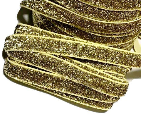 "Gold 3/8"" frosted glitter elastic"