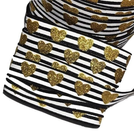 "Black & white stripe w/ gold glitter heart print 5/8"" fold over elastic FOE - MAE Inspirations"
