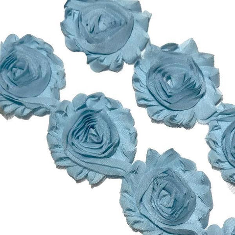 "Angel blue 2.5"" shabby chiffon rose trim - MAE Inspirations"