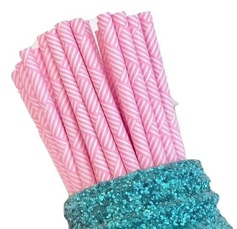 "7.75"" hot pink multi-striped paper straws / 6-25 pieces - MAE Inspirations"