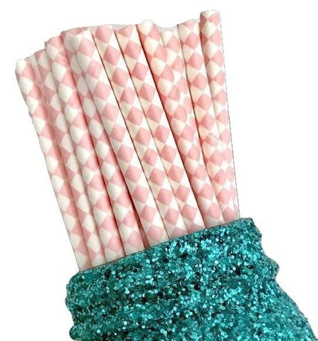 "7.75"" light pink harlequin printed paper straws / 6-25 pieces"