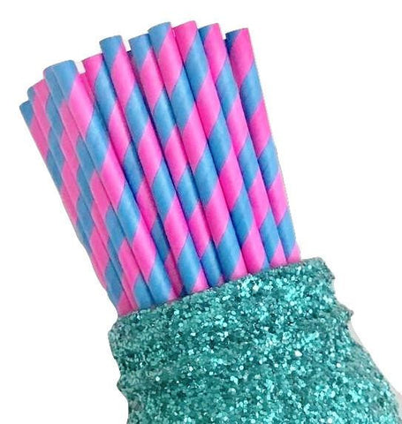 "7.75"" hot pink & turquoise two toned stripe paper straws / 6-25 pieces"