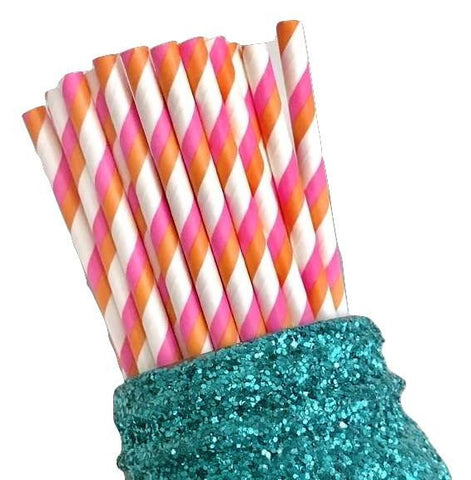 "7.75"" hot pink & orange two toned stripe paper straws / 6-25 pieces"