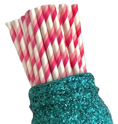 "7.75"" hot pink & light pink two toned stripe paper straws / 6-25 pieces"