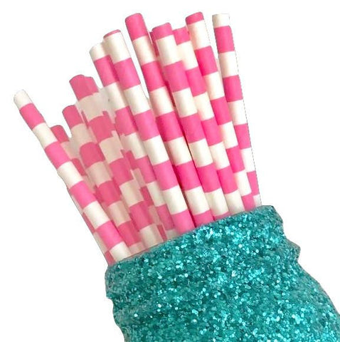 "7.75"" hot pink stacked stripe print paper straws / 6-25 pieces"