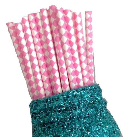"7.75"" hot pink harlequin printed paper straws / 6-25 pieces"