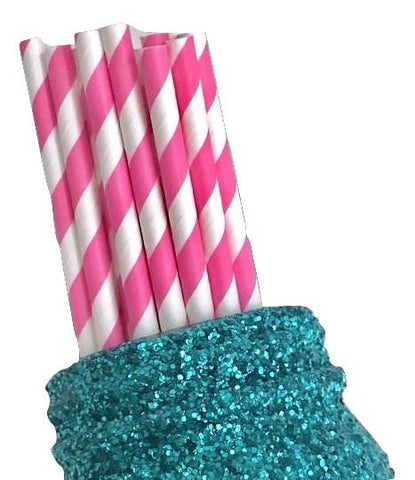 "7.75"" hot pink stripe print paper straws / 6-25 pieces - MAE Inspirations"