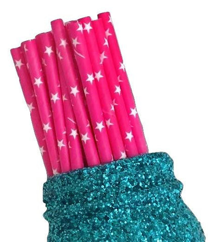 "7.75"" hot pink star print paper straws / 6-25 pieces"