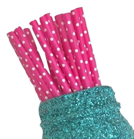 "7.75"" hot pink polka dot print paper straws / 6-25 pieces"