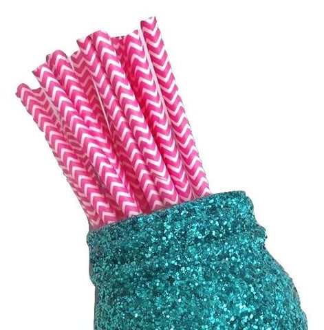 "7.75"" hot pink chevron print paper straws / 6-25 pieces"