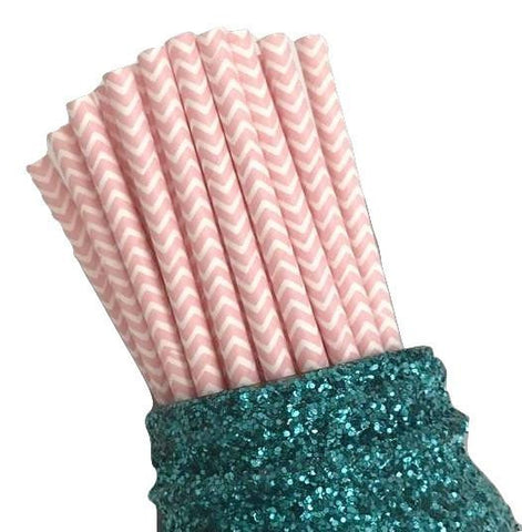 "7.75"" light pink chevron print paper straws / 6-25 pieces"