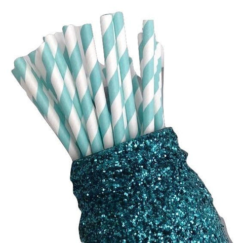 "7.75"" light teal stripe print paper straws / 6-25 pieces - MAE Inspirations"