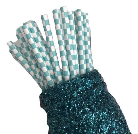 "7.75"" light teal checkers print paper straws / 6-25 pieces - MAE Inspirations"