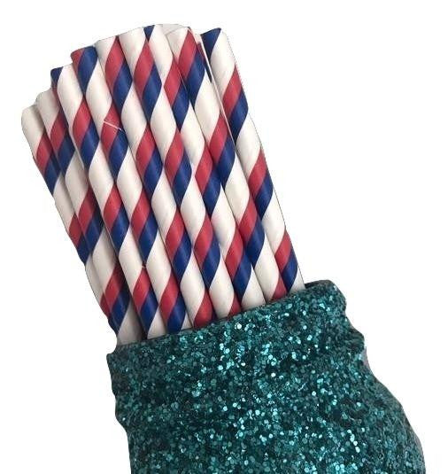 "7.75"" red, white & blue 4th of July stripe paper straws / 6-25 pieces - MAE Inspirations"