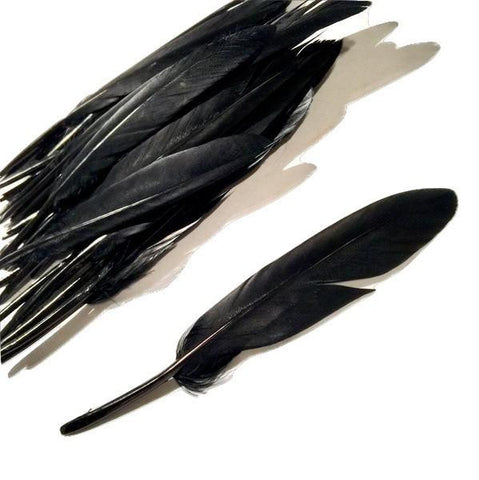 Black dyed goose feathers 4-5 inches / 1-10 pieces - MAE Inspirations