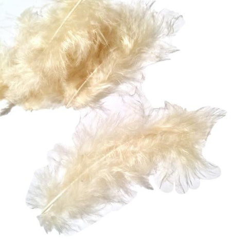 Cream turkey marabou feathers - 5 pieces - MAE Inspirations