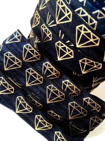 "Black w/ metallic gold diamond print 5/8"" fold over elastic FOE - MAE Inspirations  - 1"