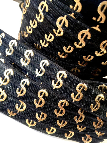 "Black w/ metallic gold dollar signs $ print 5/8"" fold over elastic FOE - MAE Inspirations  - 1"