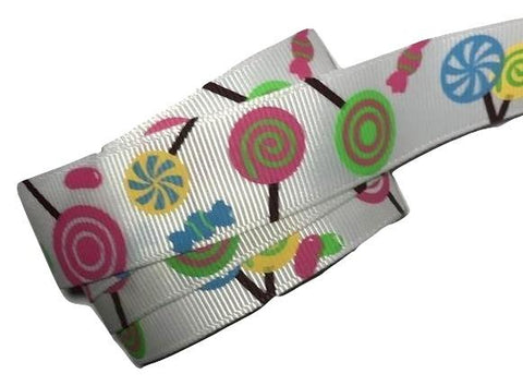 "Lollipop candy printed 7/8"" grosgrain ribbon - MAE Inspirations"
