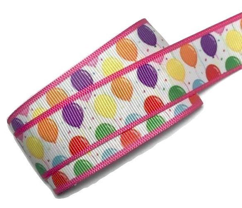 "Pink birthday balloon printed 7/8"" grosgrain ribbon - MAE Inspirations"