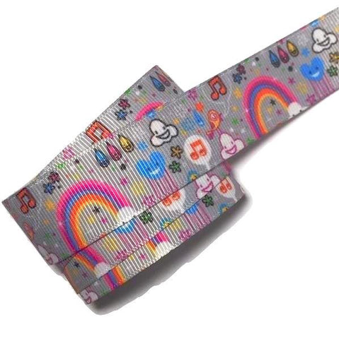 "Gray rainbow cloud printed 7/8"" grosgrain ribbon - MAE Inspirations"